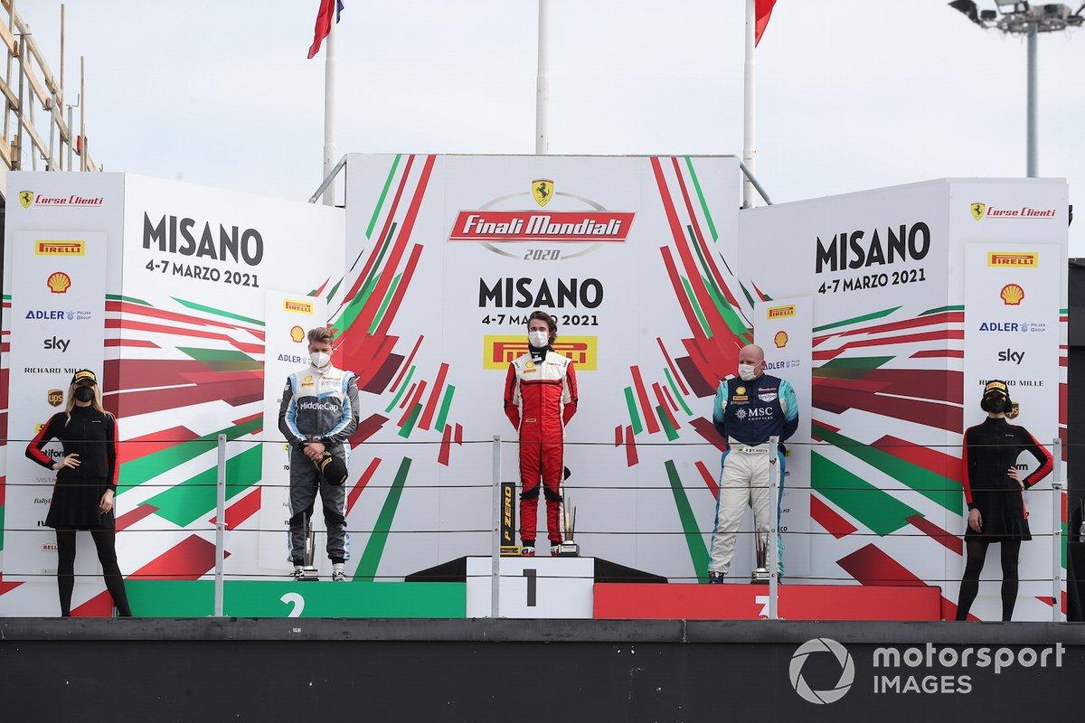 Il podio di Gara2 del Trofeo Pirelli categoria PRO AM: primo posto per Christian Brunsborg, Formula Racing, Matus Vyboh, Scuderia Praha, terzo posto Tommaso Rocca, Rossocorsa
