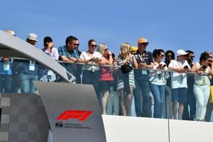 Fans gathered for the podium ceremony
