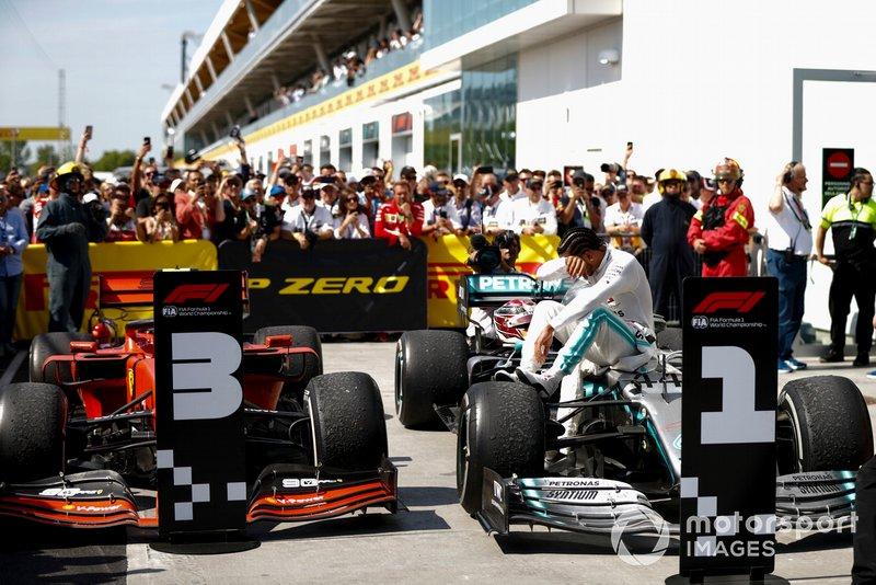 Lewis Hamilton, Mercedes AMG F1 W10 al Parc Ferme