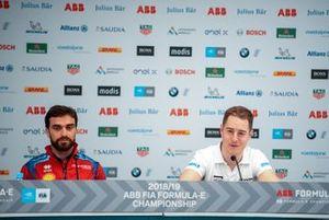 Jérôme d'Ambrosio, Mahindra Racing, Stoffel Vandoorne, HWA Racelab lors de la conférence de presse