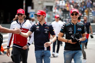 Antonio Giovinazzi, Alfa Romeo Racing, Pierre Gasly, Red Bull Racing, and George Russell, Williams Racing
