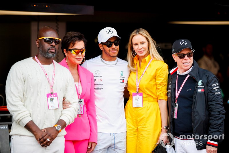 Kris Jenner and Corey Gamble with Lewis Hamilton, Mercedes AMG F1