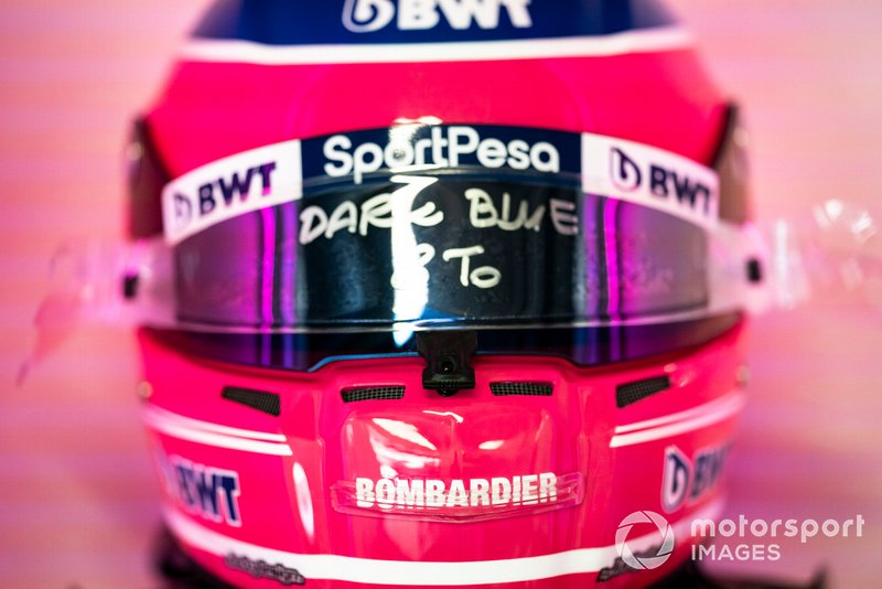 The helmet of Lance Stroll, Racing Point