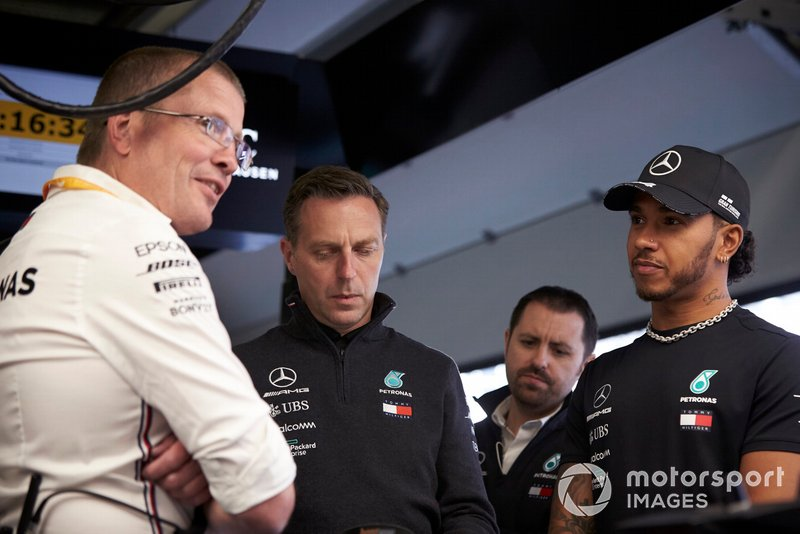 Andy Cowell, Managing Director, HPP, Mercedes AMG, and Lewis Hamilton, Mercedes AMG F1