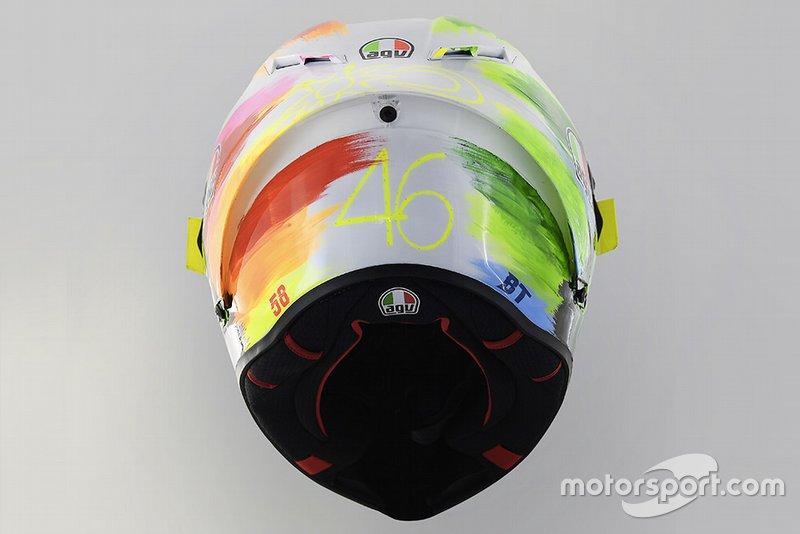 Helm von Valentino Rossi, Yamaha, mit Sonderdesign für Mugello 2019