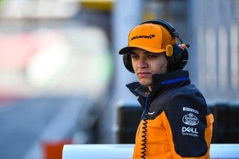 Lando Norris, McLaren on the pit wall