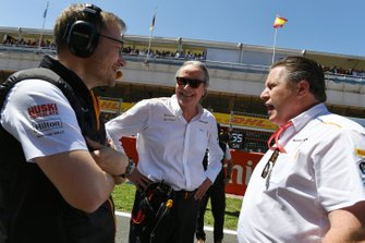 Andreas Seidl, Team Principal, McLaren, Mansour Ojjeh, co-owner, McLaren, and Zak Brown, Executive Director, McLaren