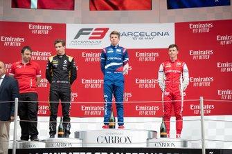 Podium : le vainqueur Robert Shwartzman, PREMA Racing, le deuxième, Christian Lundgaard, ART Grand Prix, le troisième, Marcus Armstrong, PREMA Racing