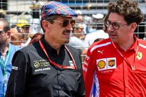 Guenther Steiner, Team Principal, Haas F1, and Mattia Binotto, Team Principal Ferrari