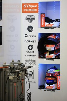 #26 G-Drive Racing Oreca 07 Gibson: Roman Rusinov, Job Van Uitert, Jean-Eric Vergne, helmets