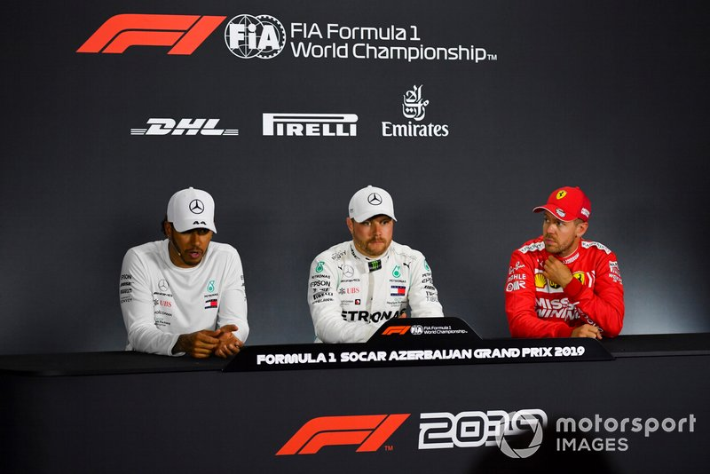 Lewis Hamilton, Mercedes AMG F1, pole man Valtteri Bottas, Mercedes AMG F1, and Sebastian Vettel, Ferrari, in the post Qualifying Press Conference