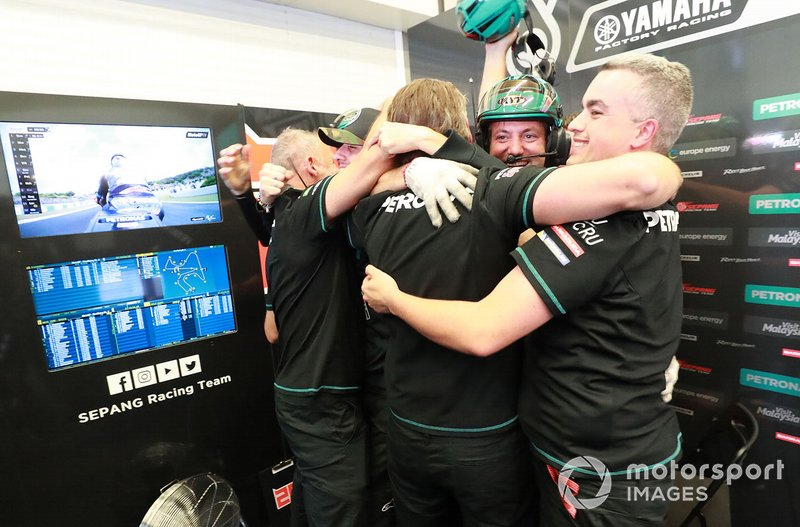 Petronas Yamaha SRT team members celebrate