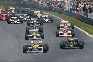 Nigel Mansell, Williams FW11-Honda ve Ayrton Senna, Lotus 98T-Renault startta
