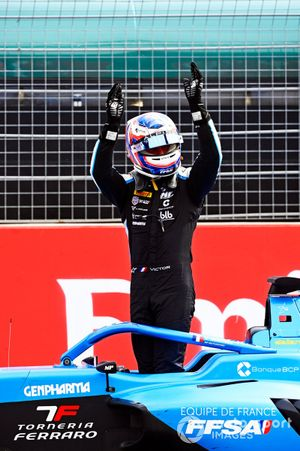 Victor Martins, MP Motorsport celebrates in Parc Ferme