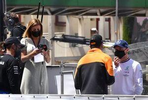 Daniel Ricciardo, McLaren, and Valtteri Bottas, Mercedes, in the drivers parade
