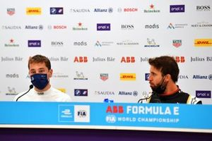 Robin Frijns, Envision Virgin Racing, 2nd position, in the Press Conference as Antonio Felix Da Costa, DS Techeetah, 1st position, looks on
