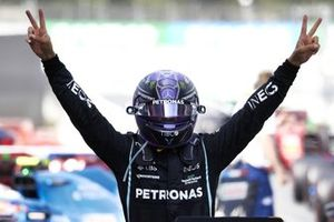 Lewis Hamilton, Mercedes, 1st position, celebrates in Parc Ferme