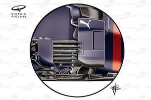Detalle del antiguo bargeboard del Red Bull Racing RB16B