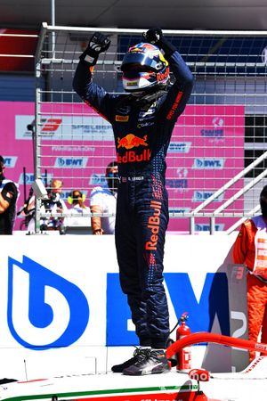 Race Winner Dennis Hauger, Prema Racing, celebrates in Parc Ferme