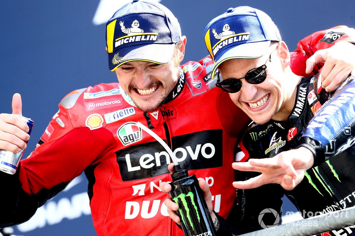 Podio: ganador Jack Miller, Ducati Team, tercer lugar Fabio Quartararo, Yamaha Factory Racing