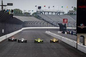 Josef Newgarden Team Penske Chevrolet, Simon Pagenaud, Team Penske Chevrolet, Scott McLaughlin, Team Penske Chevrolet, Will Power, Team Penske Chevrolet
