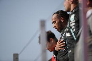 Lewis Hamilton, Mercedes, 1st position, on the podium