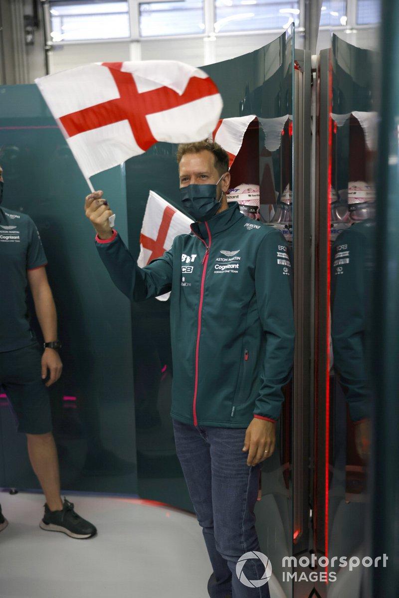 Sebastian Vettel, in the Aston Martin box