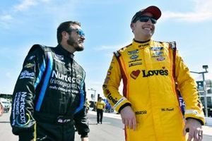 J.J. Yeley, Petty Ware Racing, Chevrolet Camaro Nurtec ODT and Michael McDowell, Front Row Motorsports, Ford Mustang Love's Travel Stops