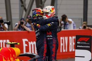 Sergio Perez, Red Bull Racing, 3rd position, and Max Verstappen, Red Bull Racing, 1st position, in Parc Ferme