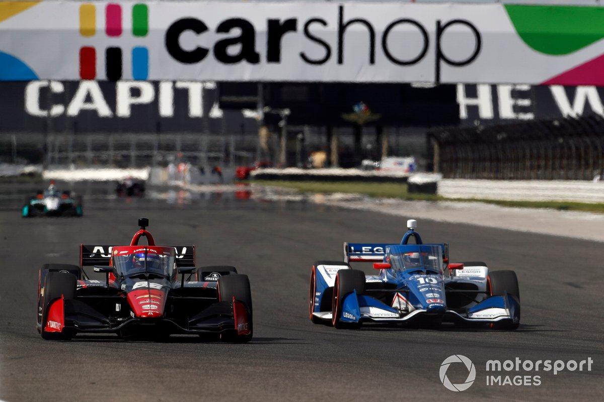 Juan Pablo Montoya, Arrow McLaren SP Chevrolet, Alex Palou, Chip Ganassi Racing Honda