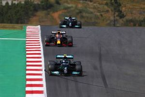 Valtteri Bottas, Mercedes W12, Max Verstappen, Red Bull Racing RB16B, and Lewis Hamilton, Mercedes W12