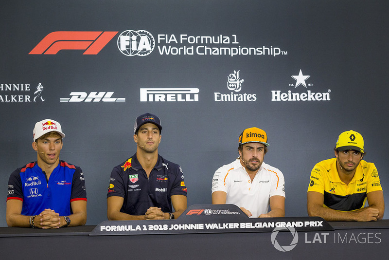Pierre Gasly, Scuderia Toro Rosso Toro Rosso, Daniel Ricciardo, Red Bull Racing, Fernando Alonso, McLaren and Carlos Sainz Jr., Renault Sport F1 Team in the Press Conference