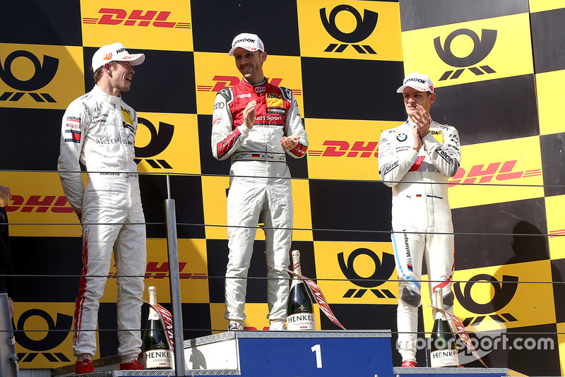 Podium: Race winner René Rast, Audi Sport Team Rosberg, second place Paul Di Resta, Mercedes-AMG Team HWA, third place Marco Wittmann, BMW Team RMG
