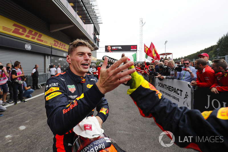 Max Verstappen, Red Bull Racing, celebrates third place in parc ferme