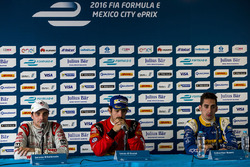 Winner Lucas di Grassi, ABT Schaeffler Audi Sport, second place Jérôme d'Ambrosio, Dragon Racing, third place Sébastien Buemi, Renault e.Dams during the press conference