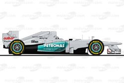 La Mercedes W03 pilotée par Michael Schumacher en 2012<br/> Reproduction interdite, exclusivité Moto