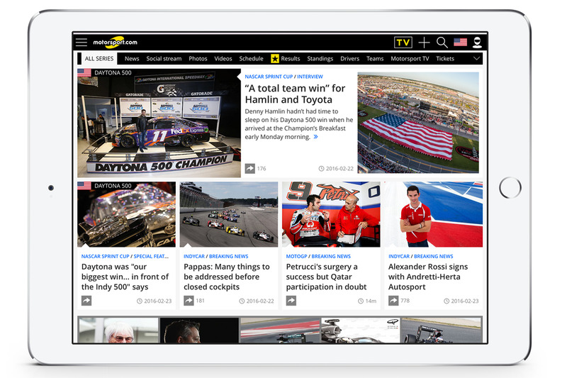 Screenshot von der Motorsport.com USA-Edition