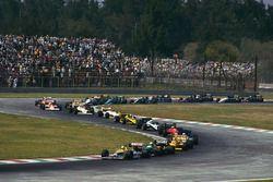 Start: Nigel Mansell, Williams FW11B Honda, Teo Fabi, Benetton B187 Ford, Ayrton Senna, Lotus 99T Ho