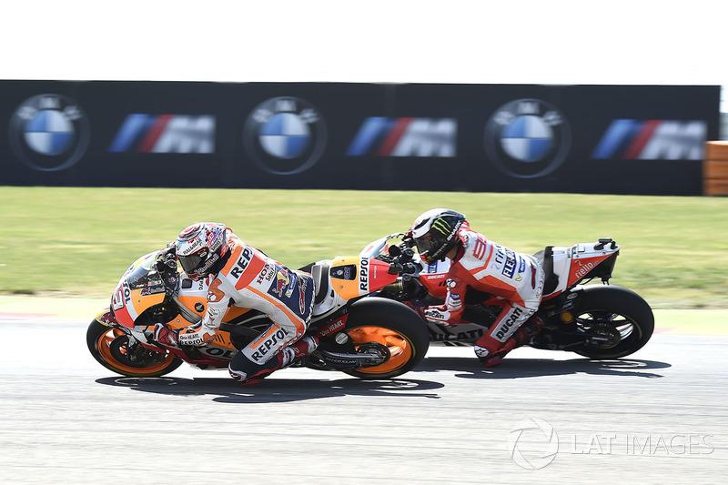Marquez y Lorenzo durante el GP de Aragón del pasado año