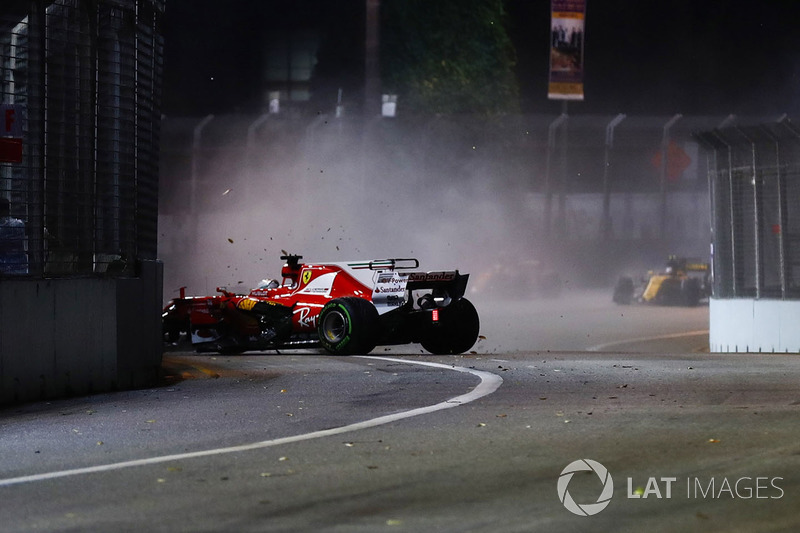 Sebastian Vettel, Ferrari SF70H goes into the wall