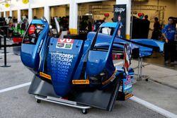 Garage van #90 VisitFlorida.com Racing Multimatic Riley LMP2: Marc Goossens, Renger van der Zande, R