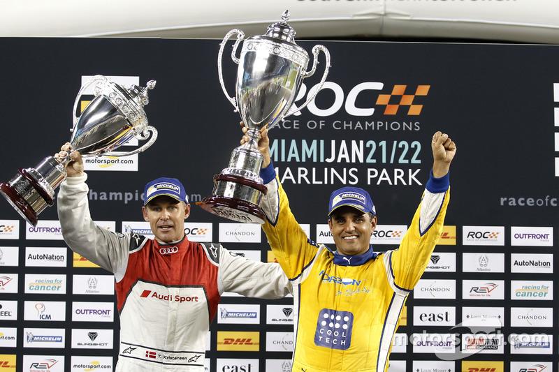 Podio: il vincitore della gara Juan Pablo Montoya, il secondo classificato Tom Kristensen