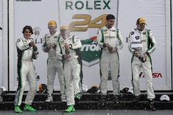 Podium GTD: first place Daniel Morad, Jesse Lazare, Carlos de Quesada, Michael de Quesada, Michael C
