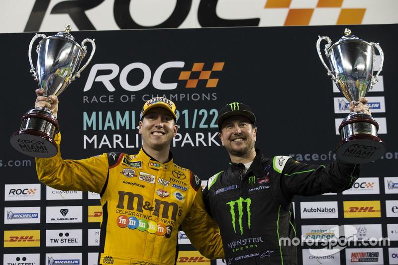 Team USA NASCAR Kyle Busch y Kurt Busch, corredores para arriba en el podio