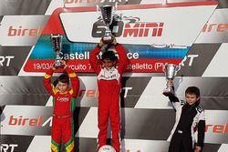 Podium 60 Mini: winner Ruhaan Alva, second place Andrea Frassineti, third place Alessandro De Gaetano