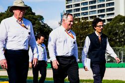 FIA officials walk the track, including Laurent Mekies, F1 Deputy Race Director, FIA