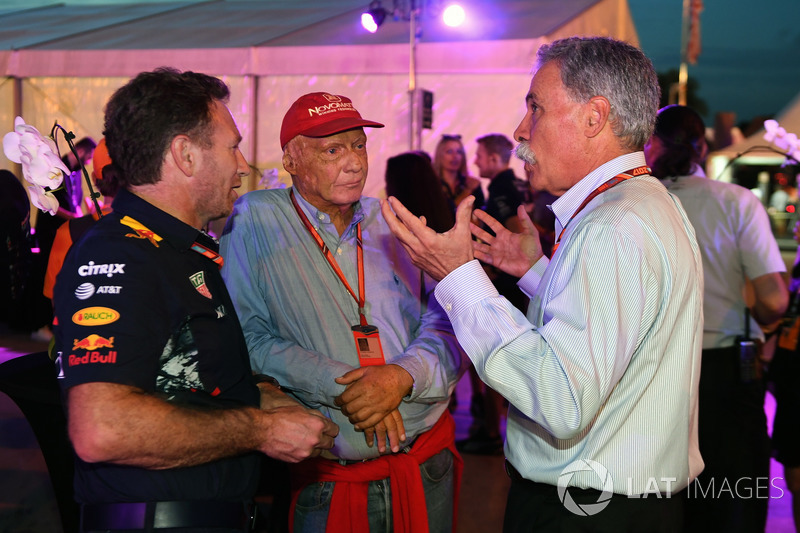 Christian Horner, Team Principal Red Bull Racing, Niki Lauda, Presidente Non-Esecutivo Mercedes AMG