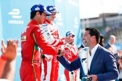 Lucas di Grassi, ABT Schaeffler Audi Sport, receives his trophy on the podium