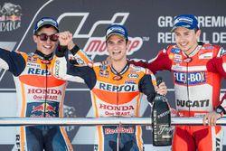 Podium: Racewinnaar Dani Pedrosa, Repsol Honda Team, tweede plaats Marc Marquez, Repsol Honda Team,