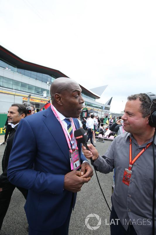 El exboxeador Frank Bruno, Ted Kravitz, Sky Sports F1